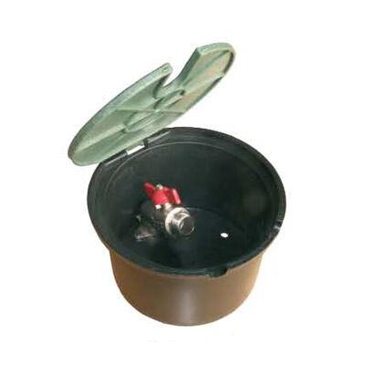 """Rainworks kerti vízcsap 3/4"""" bm menettel, közepes terhelhetőségű műanyag aknában, zöld felnyíló tetővel"""